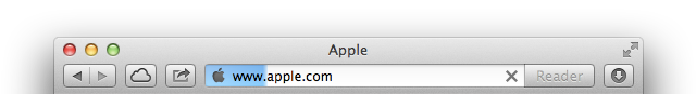 Safari's new aqua gradient page-load indicator in action.