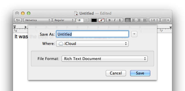 TextEdit humbly suggests saving your document in iCloud.
