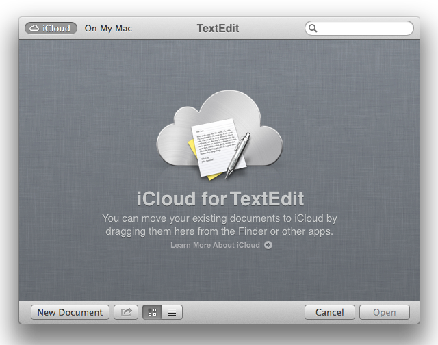 The new face of the open/save dialog box. Drag files from the Finder into this window to move them to iCloud.