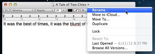 Inline document renaming on demand.
