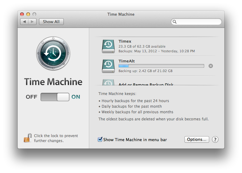 Multi-volume Time Machine backup in action. Also, evidence of a scroll bar shortage in Cupertino?