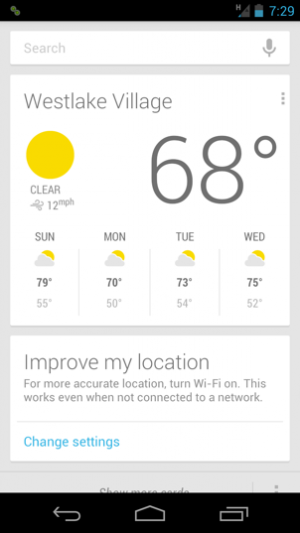 A weather forecast card is typically displayed in the Google Now app before you give it a command.