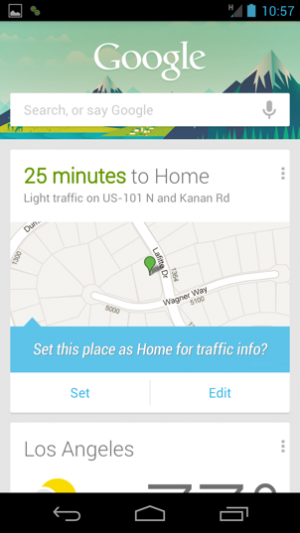 This is what the distance-from-home notification looks like in the Google Now application.