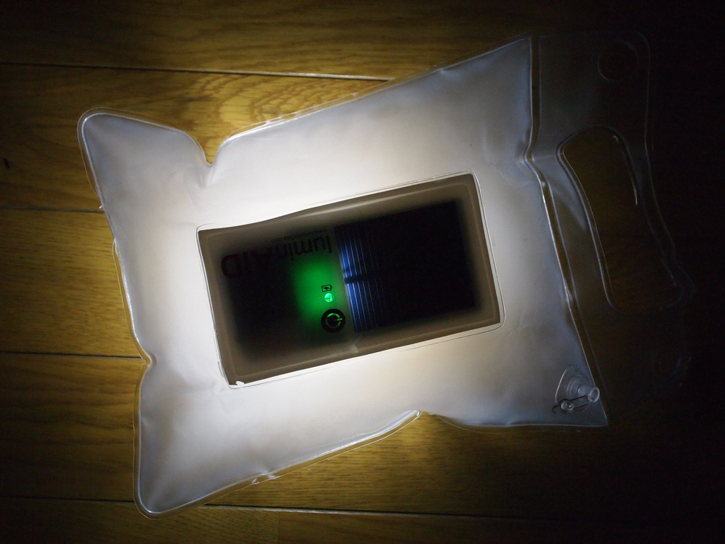 The LuminAID light is an inflatable, portable, solar-powered light source.