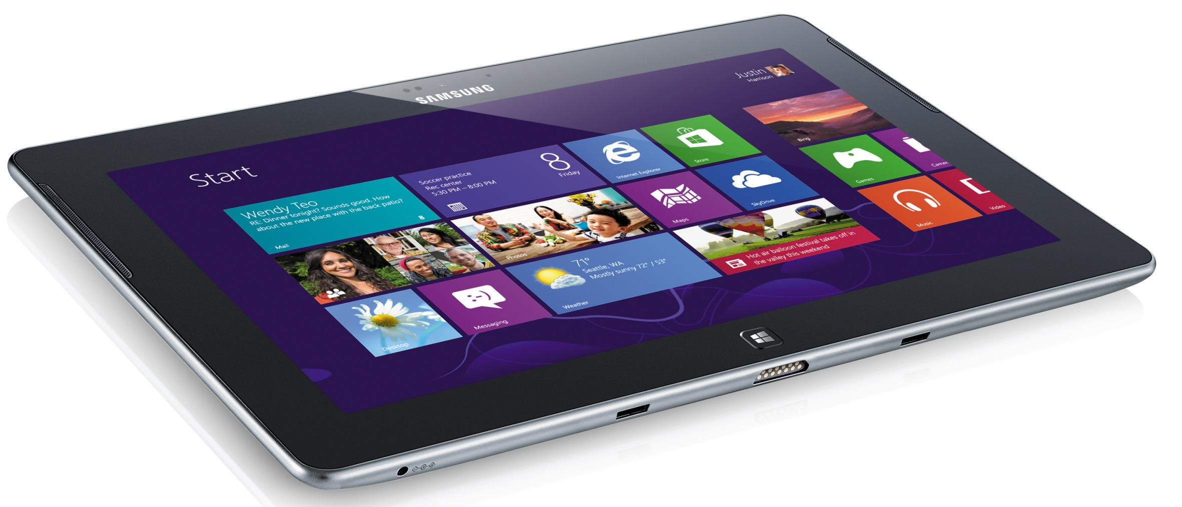 Samsung's ATIV Tab. Note the front-mounted speakers, dock connector, and physical Windows button.