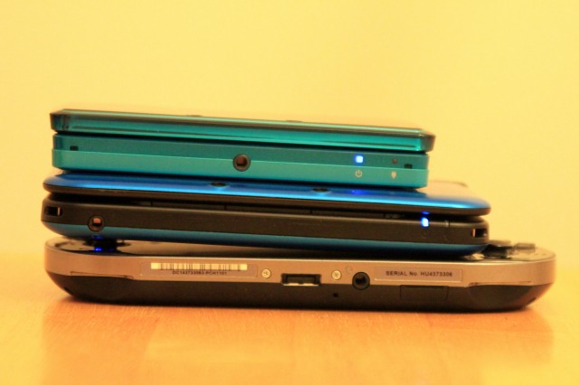 Comparing the depth and width of portable systems. Top to bottom: 3DS, 3DS XL, Vita