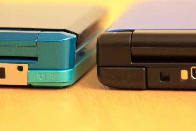 The 3DS shoulder buttons (left) can't hold a candle to the much bigger, rounder ones on the 3DS XL (right).