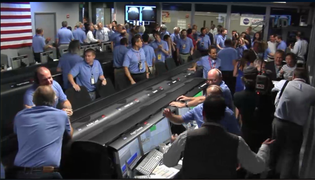JPL's Mars Science Laboratory team just after MSL's landing on Mars