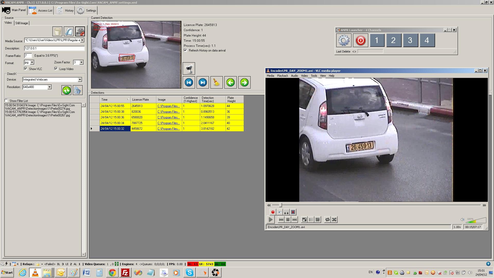 An LPR system running on Windows