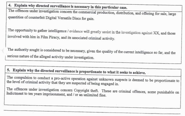 "Form seeking authorization under the Regulation of Investigatory Powers Act to conduct ""directed surveillance"" of Vickerman during the London hotel meeting. Contrary to FACT's claims, Vickerman was not in the business of selling counterfeit DVDs."