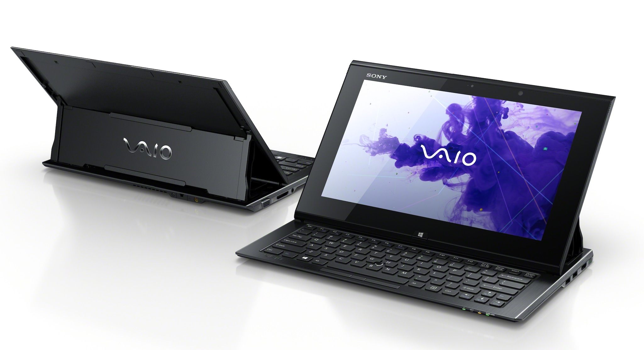 The Vaio Duo 11 measures 320mm x 17.85mm x 199mm and weighs about 1.3kg, or 2.87 pounds.