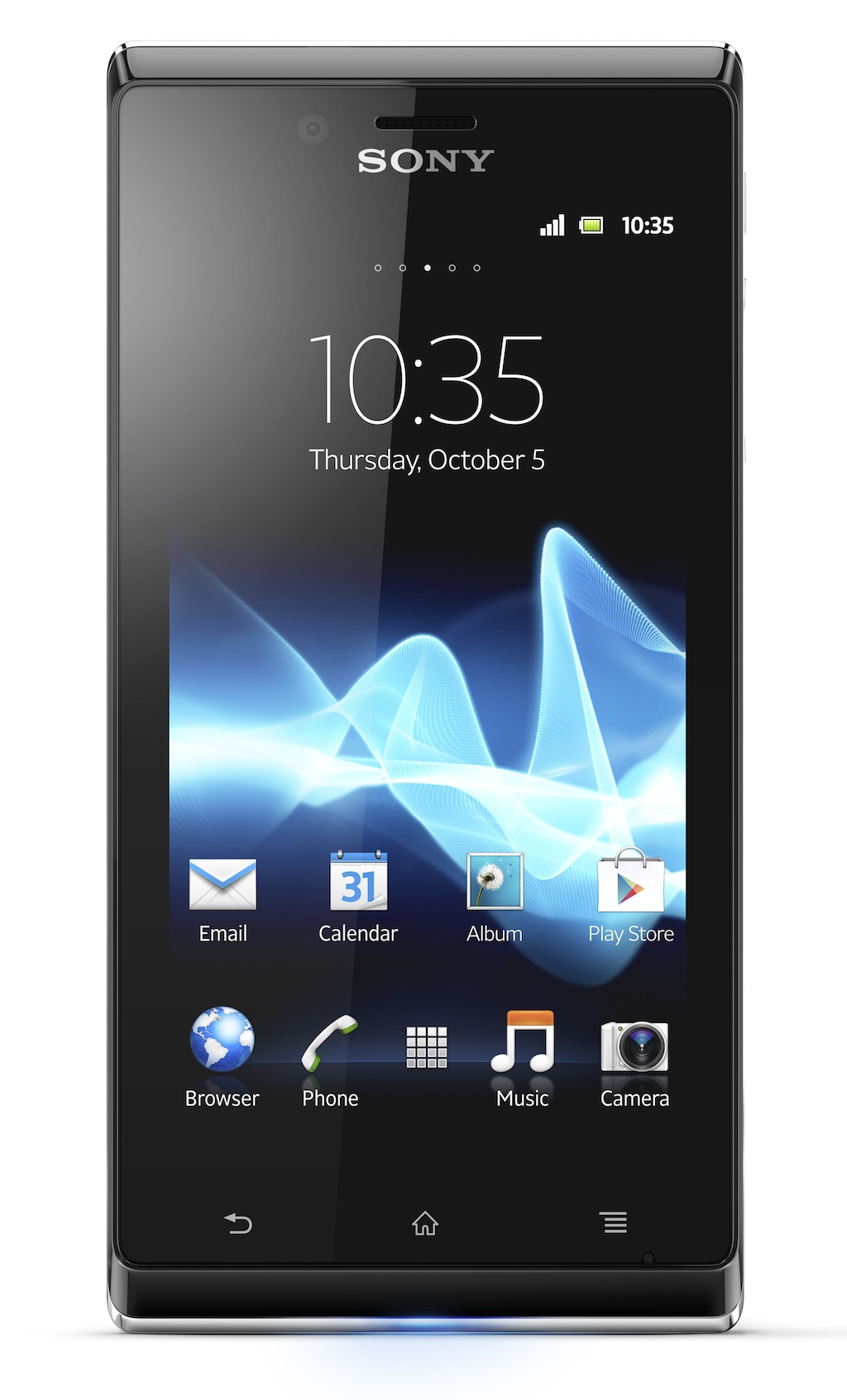 "The Xperia J measures 4.89"" x 0.36"" x 2.41"" and weighs 0.27 pounds."