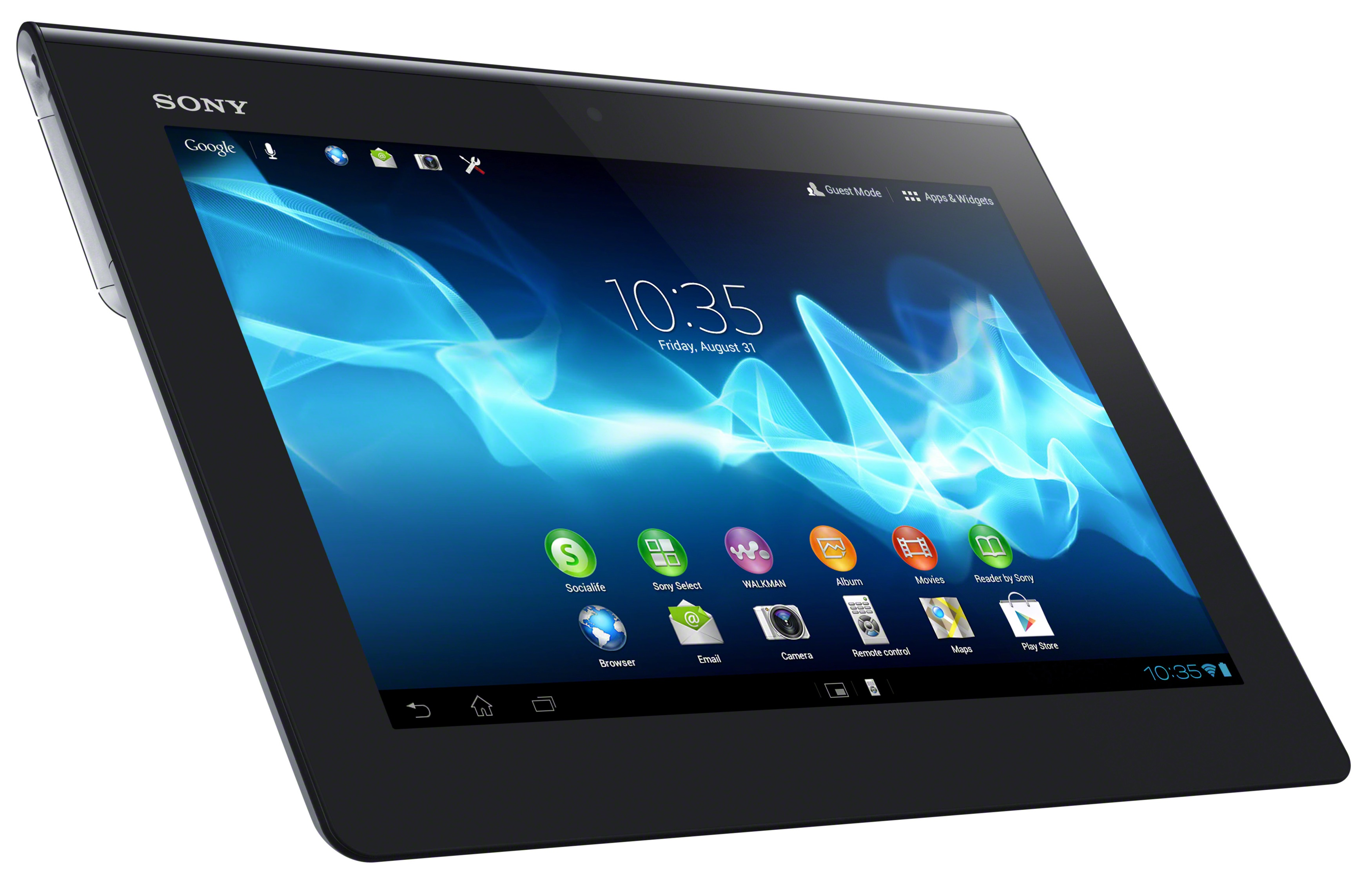 Enlarge / the xperia tablet s measures 9.45&; x 0.35-0.47&; x 6.87&; and