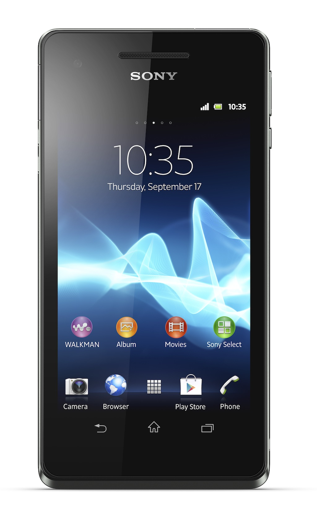 "The Xperia V measures 5.08"" x 0.42"" x 2.56"" and weighs 0.26 pounds."