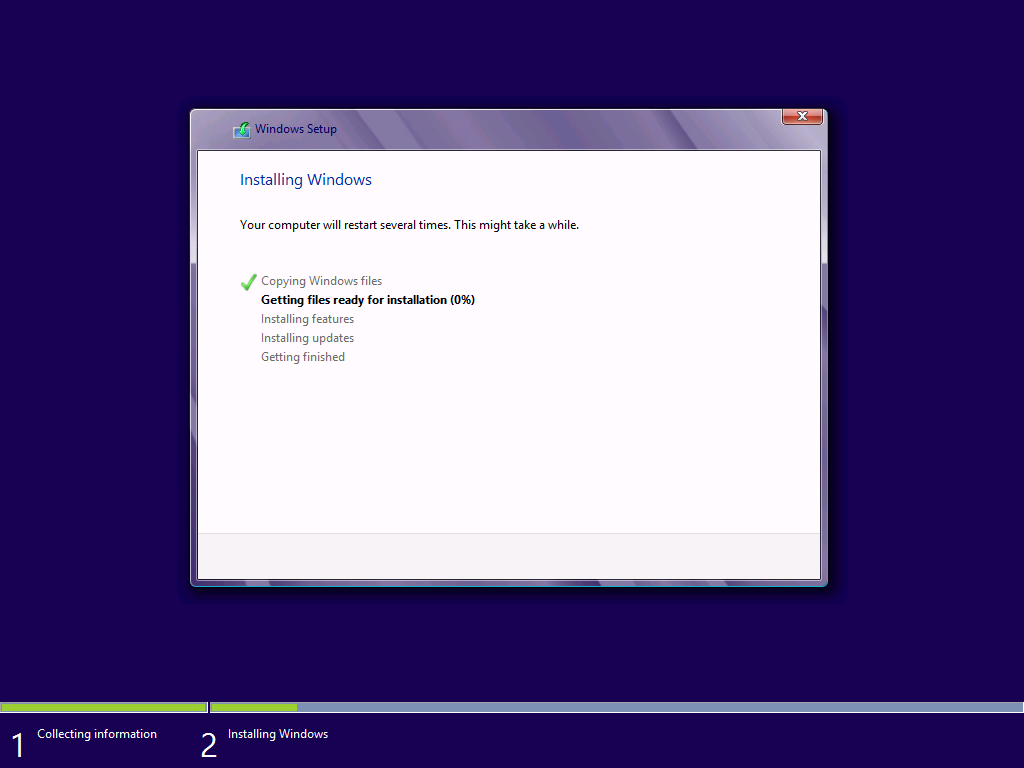 That glass effect is a Windows 7 thing. It has no place in the Windows 8 installer.