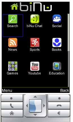 The biNu home screen, running in a Java mobile phone emulator.