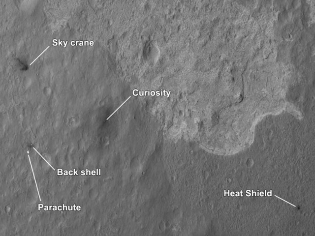 NASA's scattered hardware across a wide swath of the floor of Gale crater.