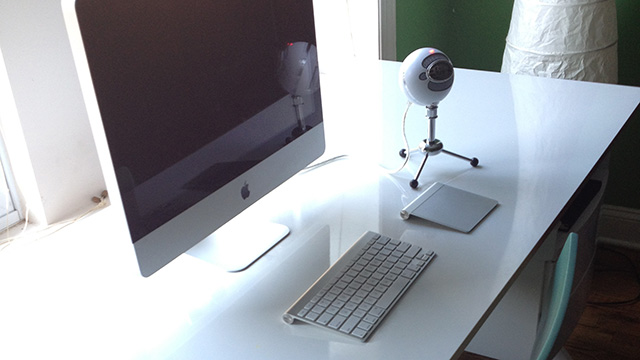Social Editor Cesar Torres' desk.