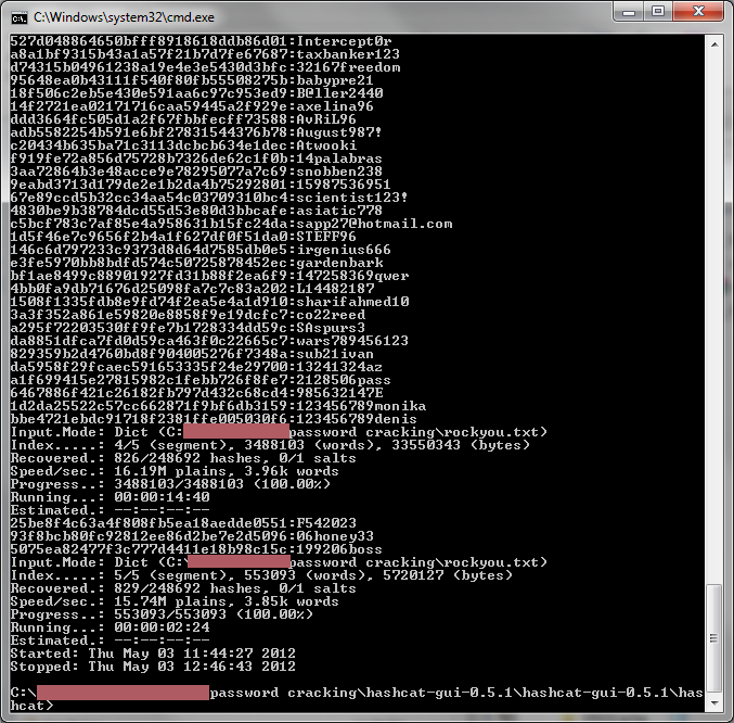 A screenshot from ocl-Hashcat as it cracks a list of password hashes leaked online.