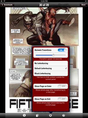 Marvel's app provides a few features to support your reading activities.