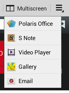 The Multiscreen app menu.