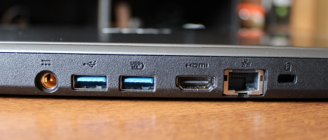The M5's ports are grouped together on the back of the laptop, and the USB ports are a bit too close together for comfort.