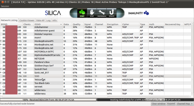 A screenshot showing Immunity Inc.'s Silica wireless penetration-testing tool in action as it sends a deauth frame and then captures the resulting four-way handshake.
