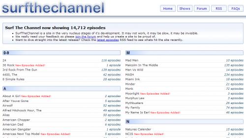 A surfthechannel.com screenshot.