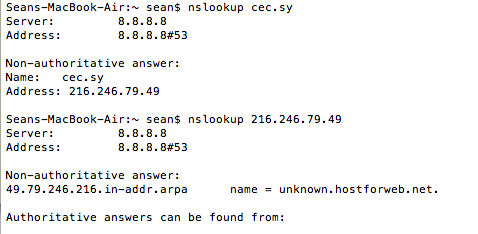 A screen shot of an nslookup on cec.sy, the website of Syrian ISP SAWA.