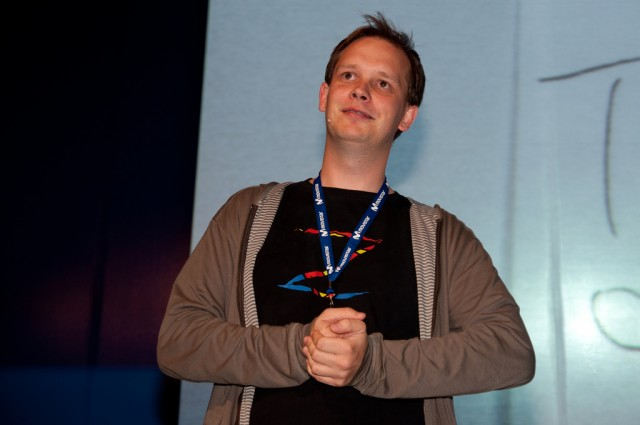 Since the trial, Sunde has hit the public speaking circuit. As shown here, he spoke at Campus Party Mexico in 2010.