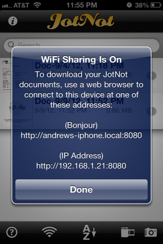 Using JotNot's WiFi sharing feature, you can connect to your phone from your computer to download scans.
