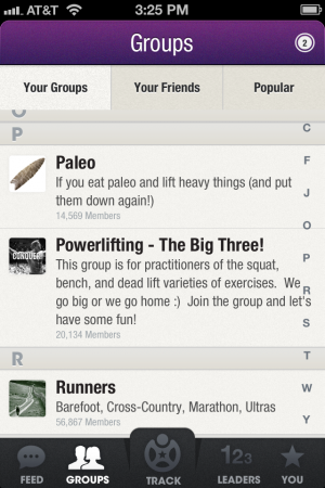 Fitocracy has a lot of groups across multiple areas of sports and fitness.