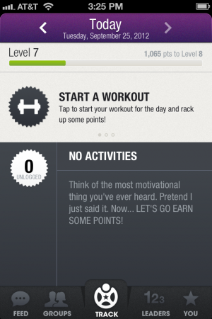 Entering data for that day's workout is quick and simple.