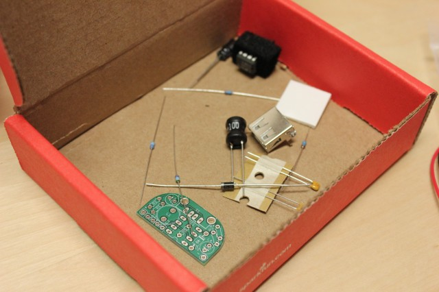 The MintyBoost comes with loose resistors, capacitors, and a diode.