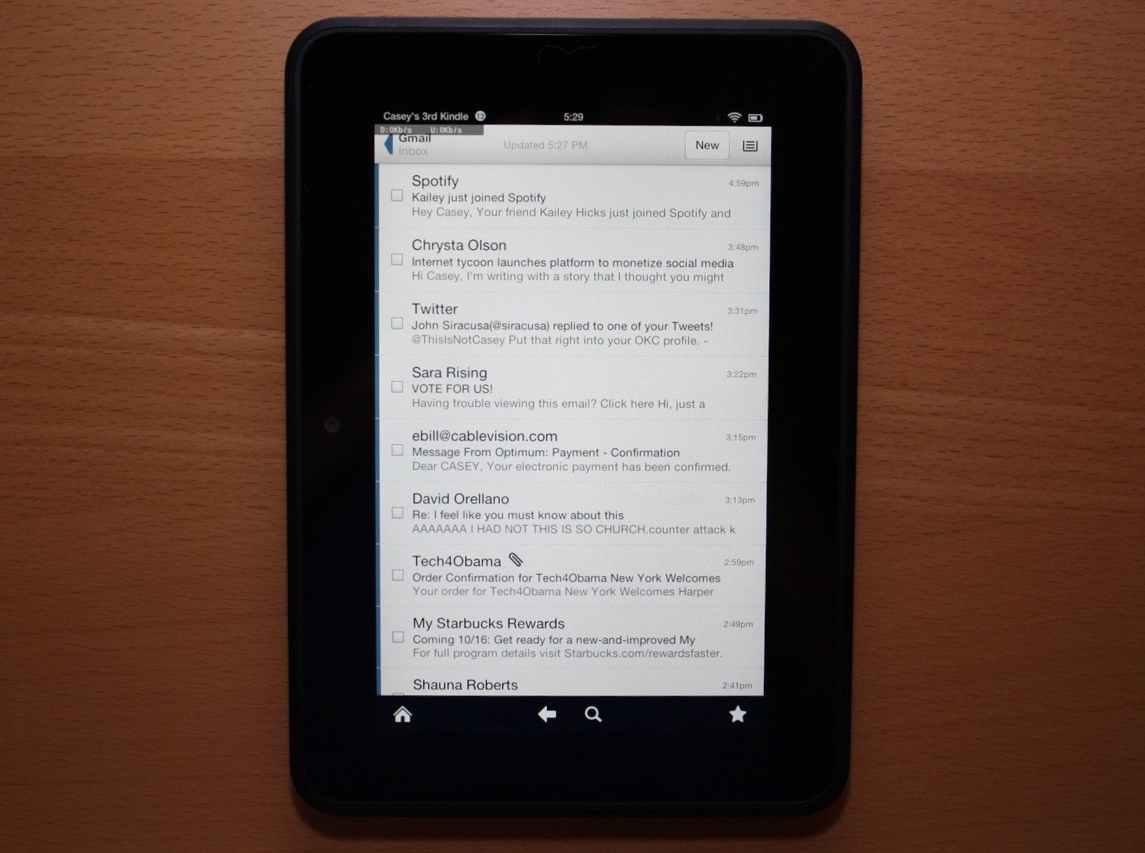 The e-mail client on the Kindle Fire HD