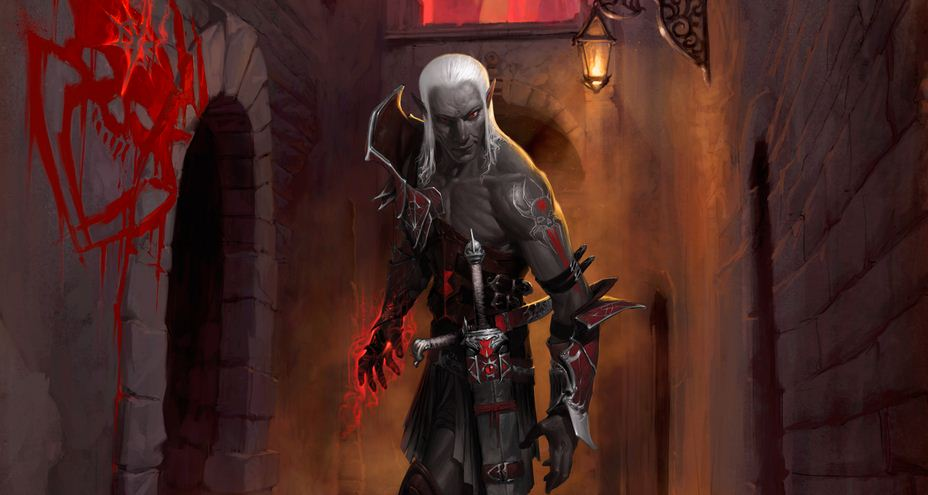 """Dark Elf concept art from the """"Rise of the Underdark"""" campaign."""