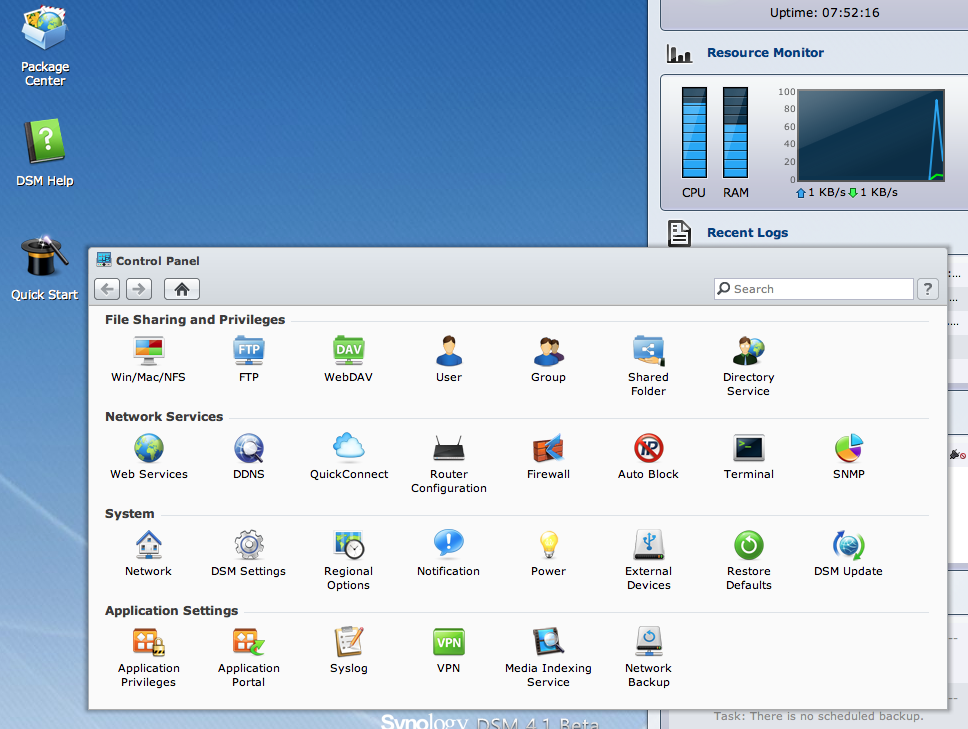 Synology's browser-based configuration pages behave more like an OS.