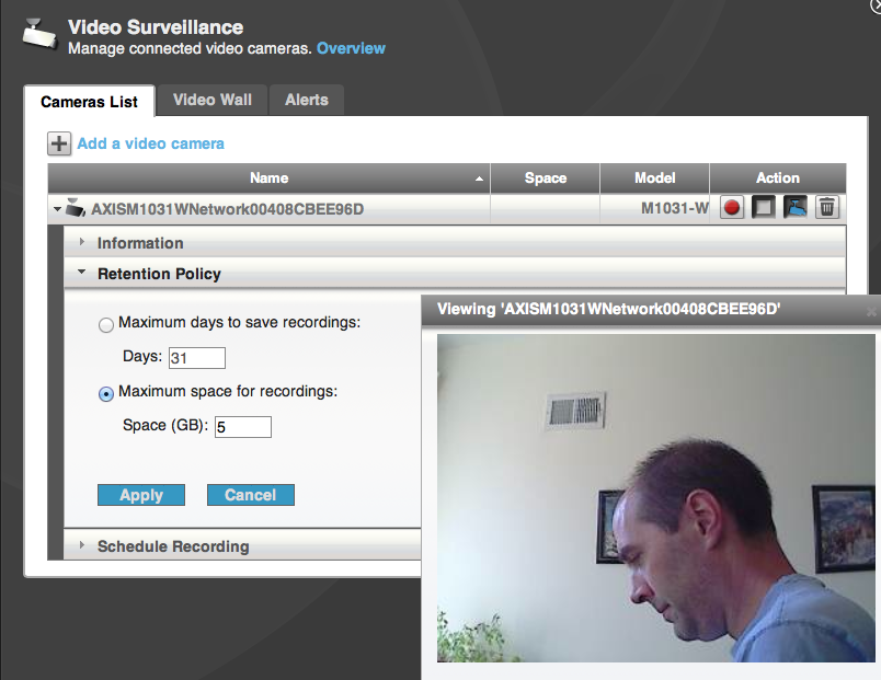 Iomega's web-based configuration lets you monitor IP-based webcams from anywhere.