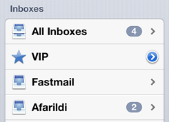 iOS 6's Inboxes view, with VIP.