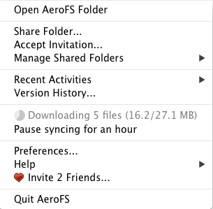 The AeroFS menu gives you access to version history, folder sharing, and other preferences and settings.