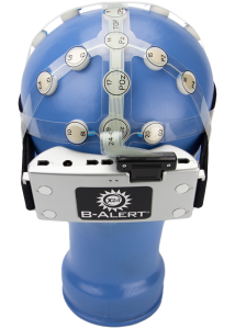 "The B-Alert x24 wireless EEG ""cap"" from Advanced Brain Monitoring. A similar device is used to track the brainwaves of CT2WS operators."