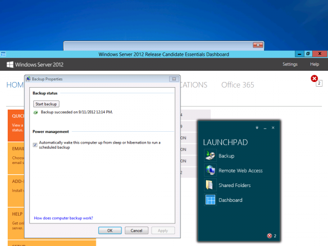 The Launchpad app and a remote Dashboard session running on a Windows 7 desktop, along with a dialog for a manual desktop backup to the server started from Launchpad.