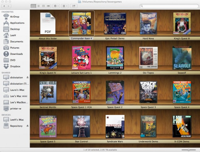 My Boxer gaming library, filled with titles from my old-school gaming repository.
