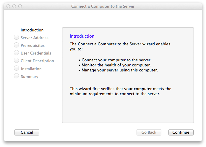 The somewhat less useful version of the Server Essentials connector for Mac OS X.