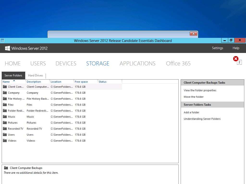 The Storage tab of Dashboard provides a central place to manage all of the shared volumes and physical drives on the server.