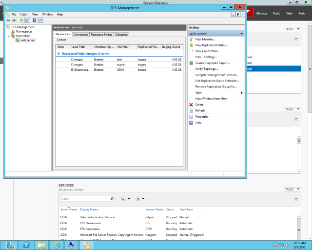 A replication group configured in Windows Server 2012's DFS Management console.