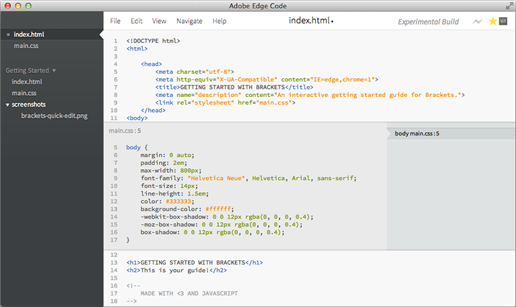 Adobe Edge Code, showing its inline expansion of CSS while editing HTML.