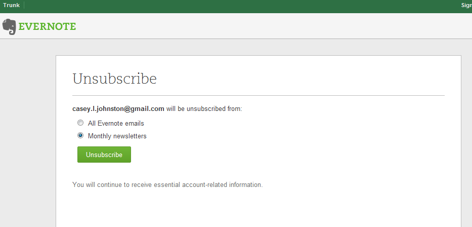 Evernote has a painless unsubscribe process.