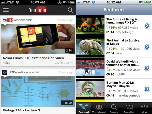 "Google's YouTube app uses ""cards"" (left), compared to Apple's somewhat tired-looking scrolling list (right)."