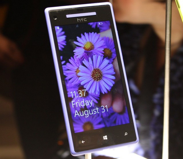 """A """"blue"""" HTC 8X (the light washes it out a lot, the color is actually much deeper in real life)."""